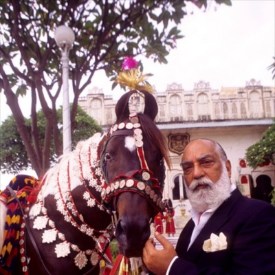 HH Maharana of Udaipur Shriji Arvind Singh Mewar with his Marwari Stallion. Custodian of the longest dynasty of 76 generations.