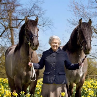 Her Majesty The Queen with Balmorals Lowman and Balmoral Jubilee in a specially commissioned photograph  for Her 90th Birthday taken on the eve of Her birthday April 20, 2016.